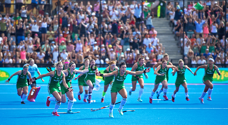 2018 Vitality Hockey Women's World Cup Semi-Final, Lee Valley Stadium, London, England 4/8/2018 Spain vs Ireland Ireland celebrate winning the shoot out Mandatory Credit ©INPHO/Sandra Mailer