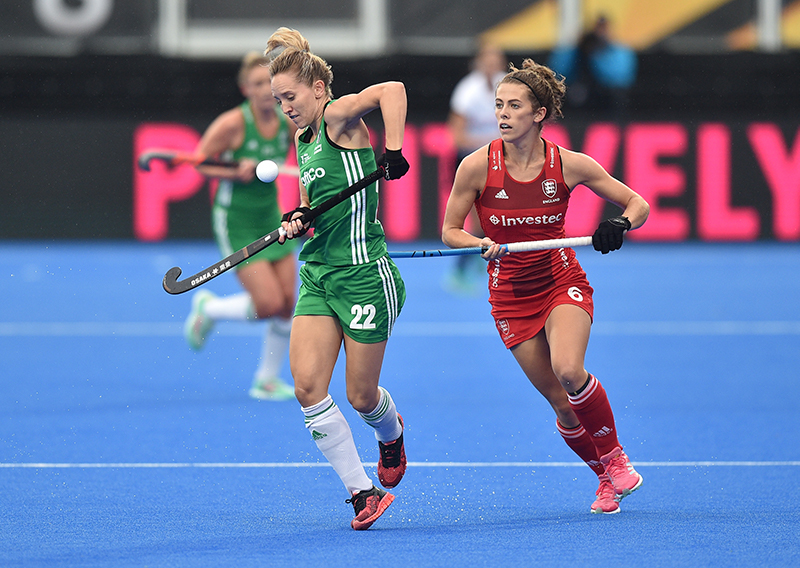 2018 Vitality Hockey Women's World Cup Pool B, Lee Valley Stadium, London, England 29/7/2018 England vs Ireland Ireland's Nicci Daly and Anna Toman of England Mandatory Credit ©INPHO/Joe Toth