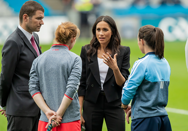 Royal Visit To Croke Park, Dublin 11/7/2018 Minister of State at the Department of Transport, Tourism and Sport Brendan Griffin and Meghan Markle, Duchess of Sussex speak with Rena Buckley and Lyndsey Davey Mandatory Credit ©INPHO/Morgan Treacy