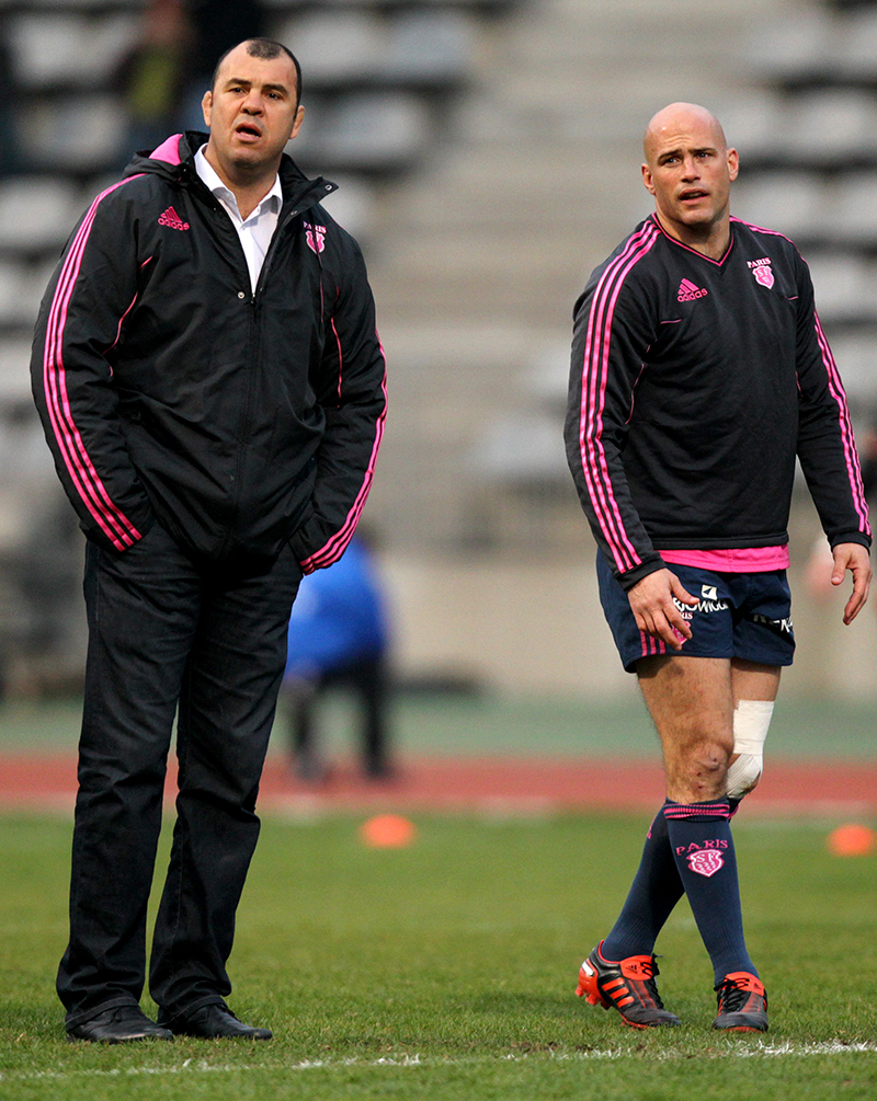 Amlin Challenge Cup Quarter-Final 5/4/2012 Stade Francais Head coach Michael Cheika and Felipe Contepomi Mandatory Credit ©INPHO/James Crombie