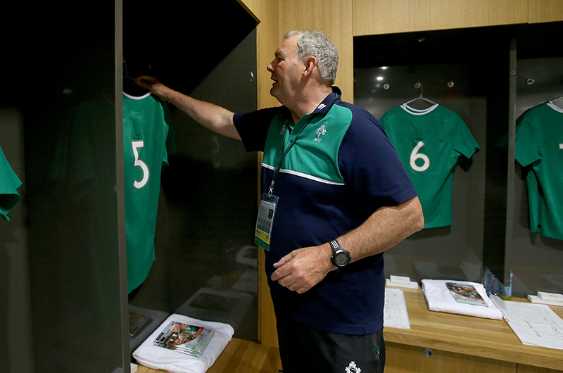 2015 Rugby World Cup Warm-Up Match, Aviva Stadium, Ireland 29/8/2015.Ireland vs Wales.Ireland's Paddy 'Rala' O'Reilly with Paul O'Connell's jersey .Mandatory Credit ©INPHO/Dan Sheridan