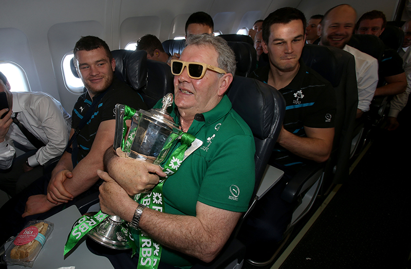 Ireland RBS 6 Nations Champions Homecoming 16/3/2014 Paddy Rala O'Reilly celebrates with the Ireland RBS 6 Nations on there way back to Dublin Mandatory Credit ©INPHO/Dan Sheridan