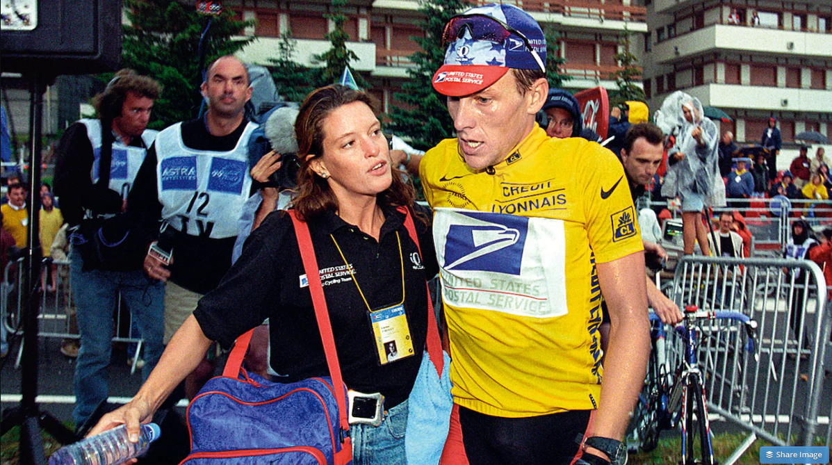 Armstrong with Emma O'Reilly, his teams masseuse during 1999's Tour de France Credit: Pressesports/Offside