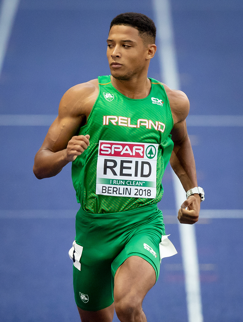 2018 European Athletics Championships - Day 3, Olympic Stadium, Berlin, Germany 8/8/2018 Men's 200m Semi-Final Ireland's Leon Reid on his way to finishing second Mandatory Credit ©INPHO/Morgan Treacy