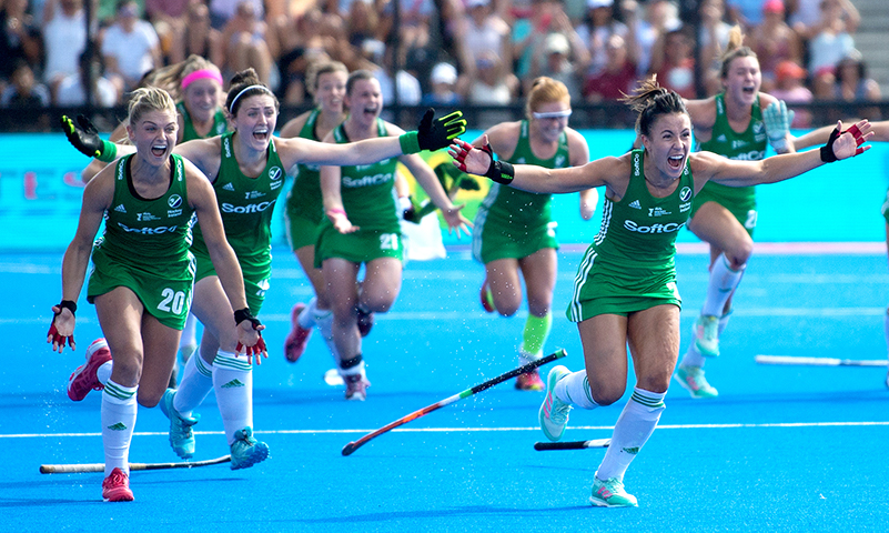 Graham Shaw - The Sports Chronicle | 2018 Vitality Hockey Women's World Cup Semi-Final, Lee Valley Stadium, London, England 4/8/2018 Spain vs Ireland Ireland's Chloe Watkins and Anna O'Flanagan celebrate winning the shoot out Mandatory Credit ©INPHO/Sandra Mailer