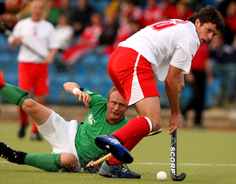 FIH Men's Champions Challenge II 9/7/2009 Ireland vs Poland Ireland's Graham Shaw and Marcin Strykowski of Poland Mandatory Credit ©INPHO/James Crombie
