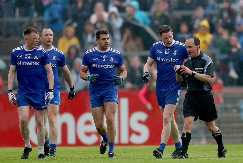 Ulster GAA Senior Football Championship Quarter-Final, Healy Park, Omagh 20/5/2018 Tyrone vs Monaghan Monaghan's Ryan McAnespie, Vinny Corey, Ryan Wylie and Conor McManus with referee David Coldrick Mandatory Credit ©INPHO/James Crombie