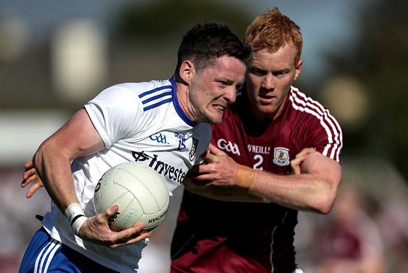 GAA All-Ireland Senior Football Championship Quarter-Final Phase 3, Pearse Stadium, Galway 4/8/2018 Galway vs Monaghan Monaghan's Conor McManus and Declan Kyne of Galway Mandatory Credit ©INPHO/Laszlo Geczo