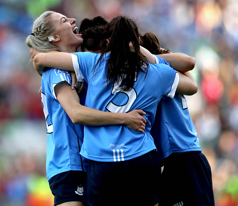 TG4 Ladies Senior All-Ireland Football Championship Final, Croke Park, Dublin 24/9/2017 Dublin vs Mayo Dublin's Nimah McEvoy, Sinead Ahern, Nicole Owens and Sinead Goldrick celebrate at the final whistle Mandatory Credit ©INPHO/Ryan Byrne