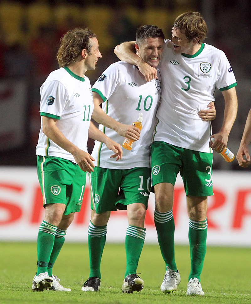 UEFA Euro 2012 Qualifier, Philip II Stadium, Skojpe, Macedonia 4/6/2011 Macedonia vs Republic of Ireland Ireland's Robbie Keane and Kevin Kilbane at the end of the game Mandatory Credit ©INPHO/Donall Farmer