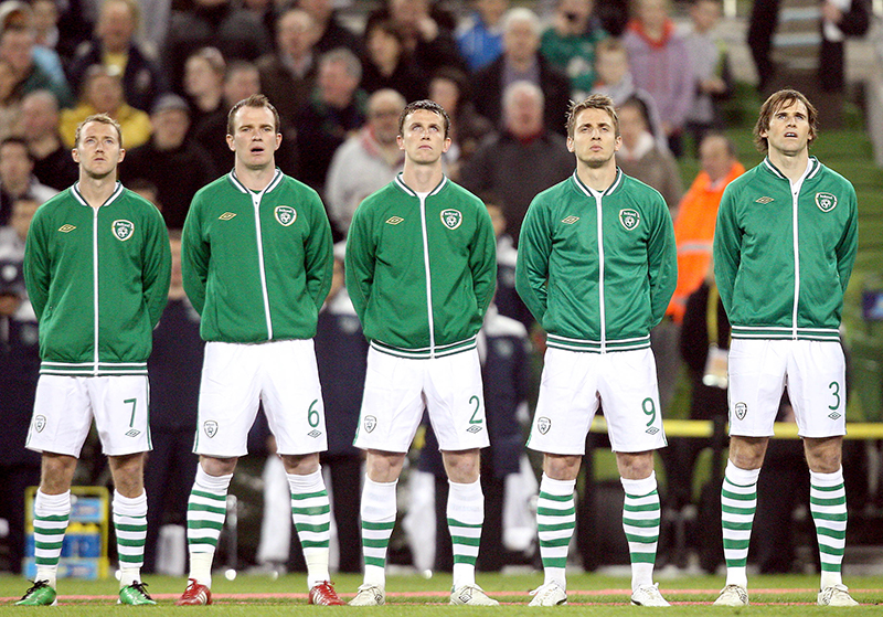 UEFA Euro 2012 Group B Qualifier 26/3/2011 Republic of Ireland Aiden McGeady, Glenn Whelan, Kevin Foley, Kevin Doyle and Kevin Kilbane stand for the national anthem Mandatory Credit ©INPHO/Ryan Byrne