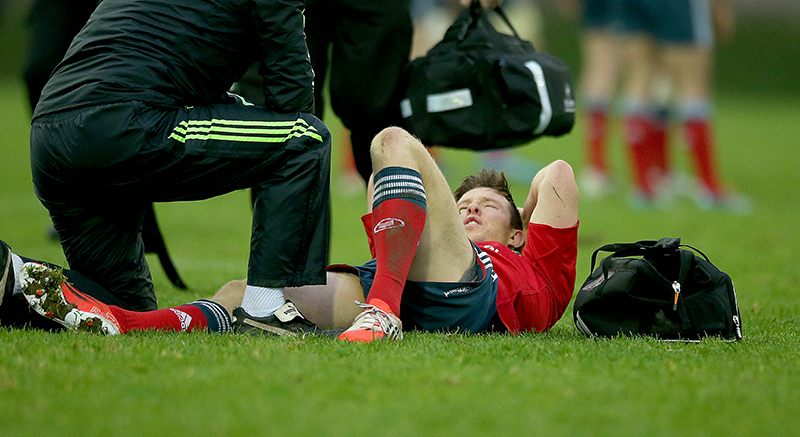 British & Irish Cup, Temple Hill, Co. Cork 29/11/2014 Munster A vs Nottingham Jonny Holland of Munster injured Mandatory Credit ©INPHO/Donall Farmer