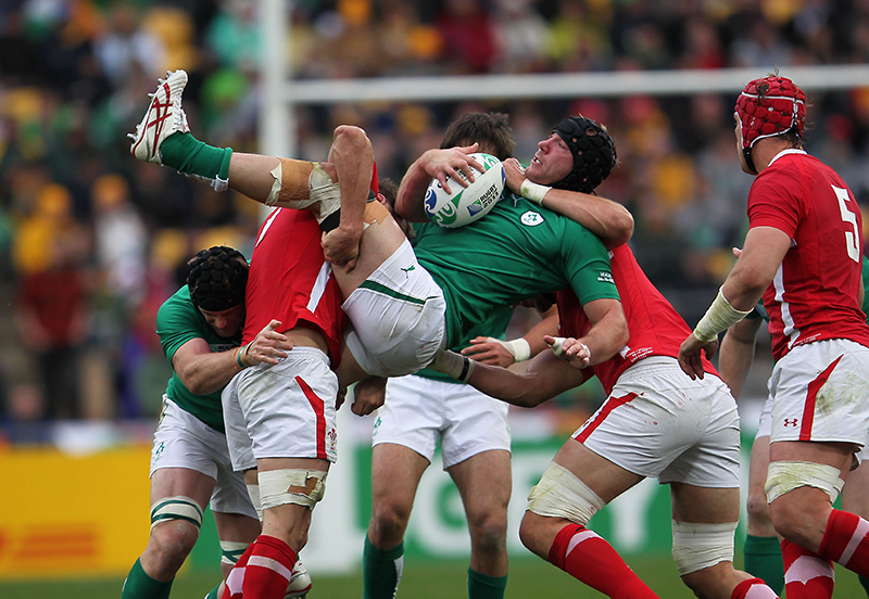 2011 Rugby World Cup.Ireland vs Wales.Stephen Ferris tackled.Mandatory Credit ©INPHO/Billy Stickland