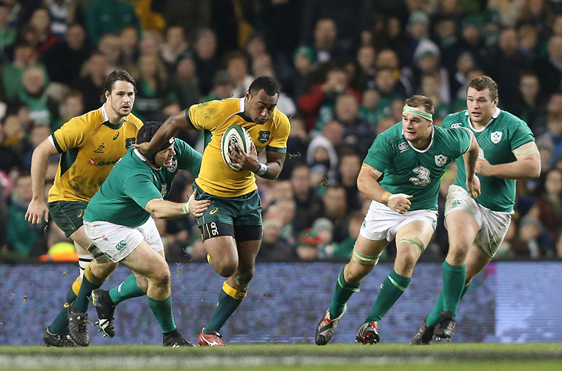 Guinness Series 22/11/2014 Ireland vs Australia Australia's Tevita Kuridriani makes a break from Mike Ross, Rhys Ruddock and Jack McGrath of Ireland Mandatory Credit ©INPHO/Colm O'Neill