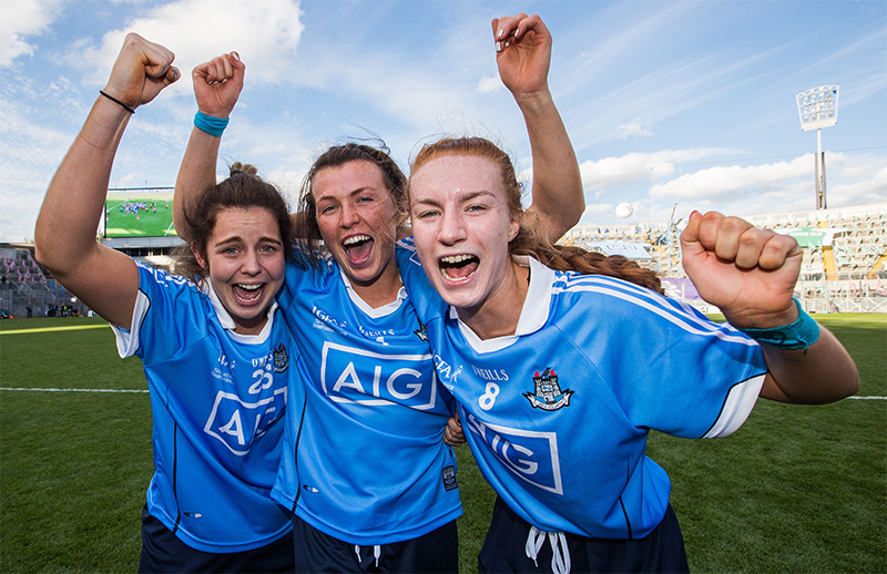 Ladies Senior All-Ireland Football Championship Final, Croke Park, Dublin 16/9/2018 Dublin vs Cork Dublin's Katie Murray celebrates after the game with Leah Caffrey and Lauren Magee (Johnny Magee's daughter) Mandatory Credit ©INPHO/Tommy Dickson