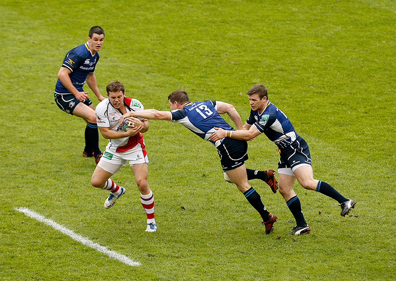 Darren Cave | The Sports Chronicle | Heineken Cup Final 19/5/2012 Leinster vs Ulster Leinster's Gordon D'Arcy and Brian O'Driscoll with Darren Cave of Ulster Mandatory Credit ©INPHO/Billy Stickland
