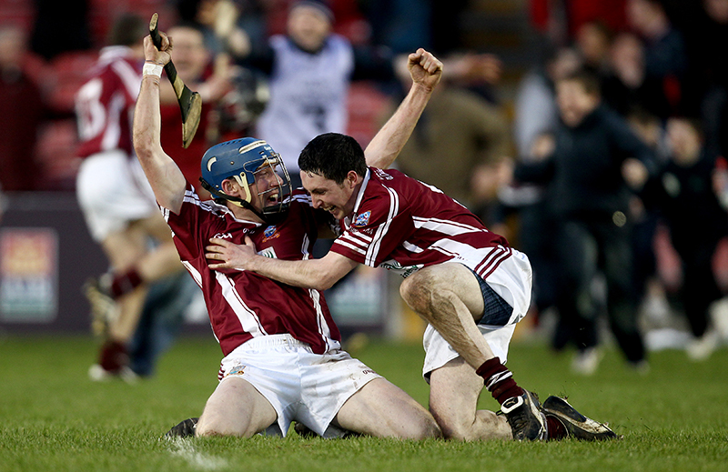 AIB All Ireland Senior Hurling Championship Club Semi-Final 19/2/2011 Clarinbridge (Galway) vs De La Salle (Waterford) Clarinbridge Shane Burke celebrates with Eanna Murphy at the final whistle Mandatory Credit ©INPHO/James Crombie