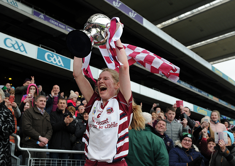 AIB All-Ireland Camogie Senior Club Championship Final, Croke Park, Dublin 5/3/2017 Sarsfields vs Slaughtneil Slaughtneil's Aoife Ni Chaiside lifts Bill & Agnes Carroll Cup Mandatory Credit ©INPHO/Tommy Grealy