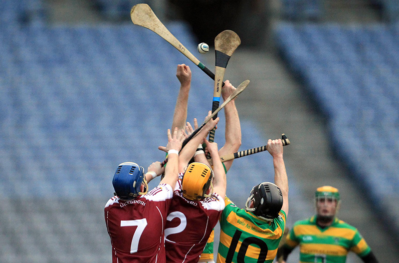 AIB All Ireland Intermediate Hurling Championship Club Final, Croke Park, Dublin 13/2/2011 Ballymartle (Cork) vs Dicksboro (Kilkenny) Players from both sides compete for the ball Mandatory Credit ©INPHO/Donall Farmer