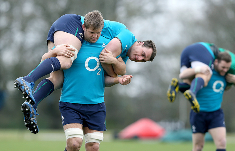 Ireland Rugby Squad Training, Carton House, Co. Kildare 6/3/2014 Chris Henry and Rhys Ruddock Mandatory Credit ©INPHO/Dan Sheridan