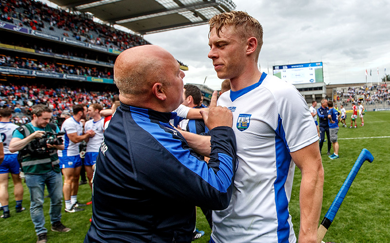 All-Ireland Senior Hurling Championship Semi-Final, Croke Park, Dublin 13/8/2017 Cork vs Waterford Waterford's manager Derek McGrath celebrates with Philip Mahony Mandatory Credit ©INPHO/James Crombie