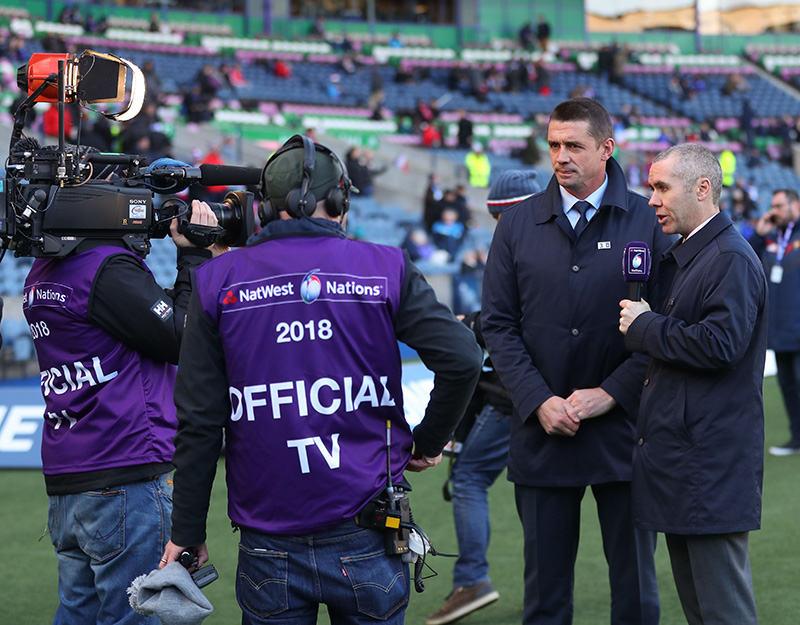 NatWest 6 Nations Championship Round 2, BT Murrayfield, Edinburgh, Scotland 11/2/2018 Scotland vs France TV3's Alan Quinlan and David McIntyre Mandatory Credit ©INPHO/James Crombie