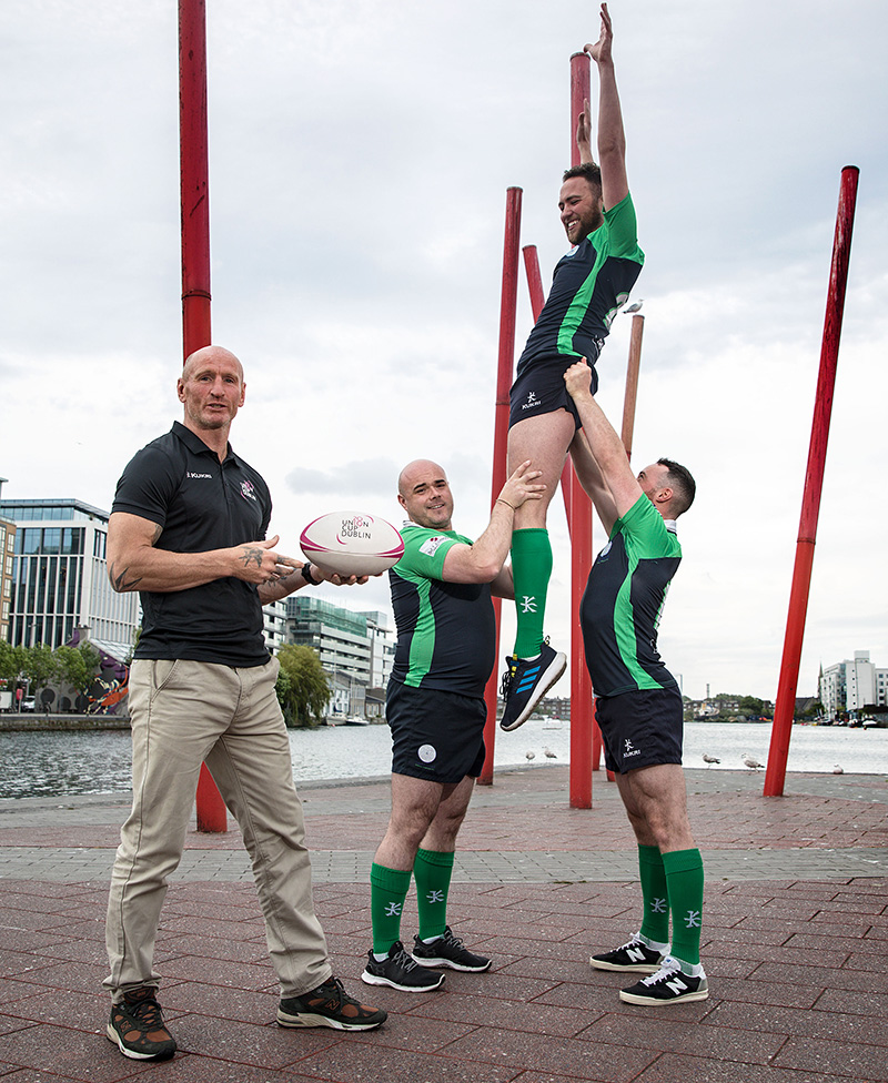 Gareth Thomas Lines Out To Support 2019 Union Cup Dublin, Dublin 30/5/2019 Rugby legend, Gareth Thomas, lands in Dublin to support EuropeÕs biggest LGBT+ inclusive rugby tournament which takes place in Dublin, Ireland for the first time June 8th,9th. Gareth is calling on Irish people, not just rugby fans or LGBT+, to be allies for the inclusive event. Standing shoulder to shoulder with Gareth members of the host team, the Emerald Warriors Richie Fagan, Oran Sweeney and James Browne, and GAA ref David Gough. Gareth will be speaking at a ÔDiversity in SportÕ livestream panel alongside GAA referee David Gough and Lindsay Peat on the Union Cup Facebook page. The Union Cup takes places over two days and will feature 45 teams from 15 countries. Tickets are available from available from www.unioncupdublin.ie and are priced at Û10 for adult tickets and any profits go to Belong To LGBT youth services. Pictured today is Gareth Thomas, Richie Fagan James Browne and Oran Sweeney Mandatory Credit ©INPHO/Bryan Keane