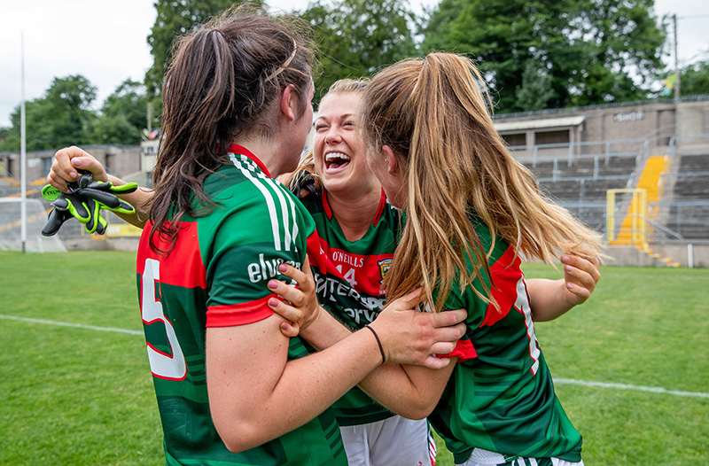 Ladies Football All-Ireland Senior Championship Group 4 Round 1, Clones 14/7/2018 Cavan vs Mayo Mayo's Sarah Rowe celebrates with Rachel Kearns and Sarah Mulvihill after the game Mandatory Credit ©INPHO/Morgan Treacy