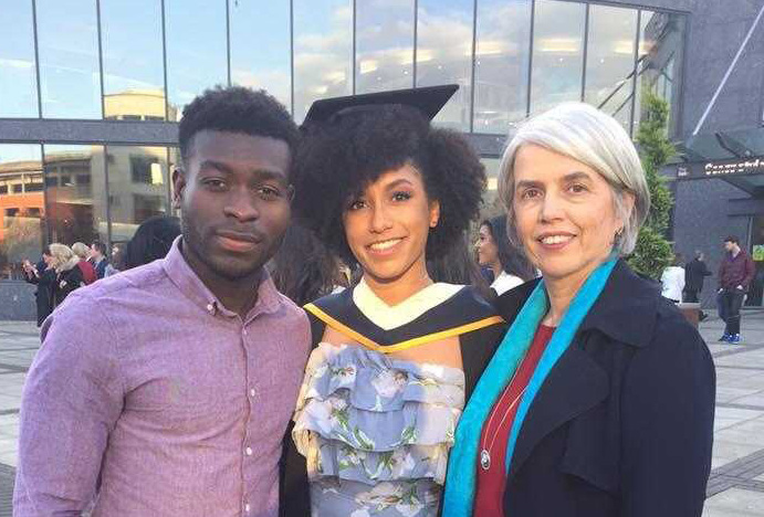 Boidu Sayeh at his sister Mairéad's graduation from DCU with his mother Thérèse. ©Boidu Sayeh