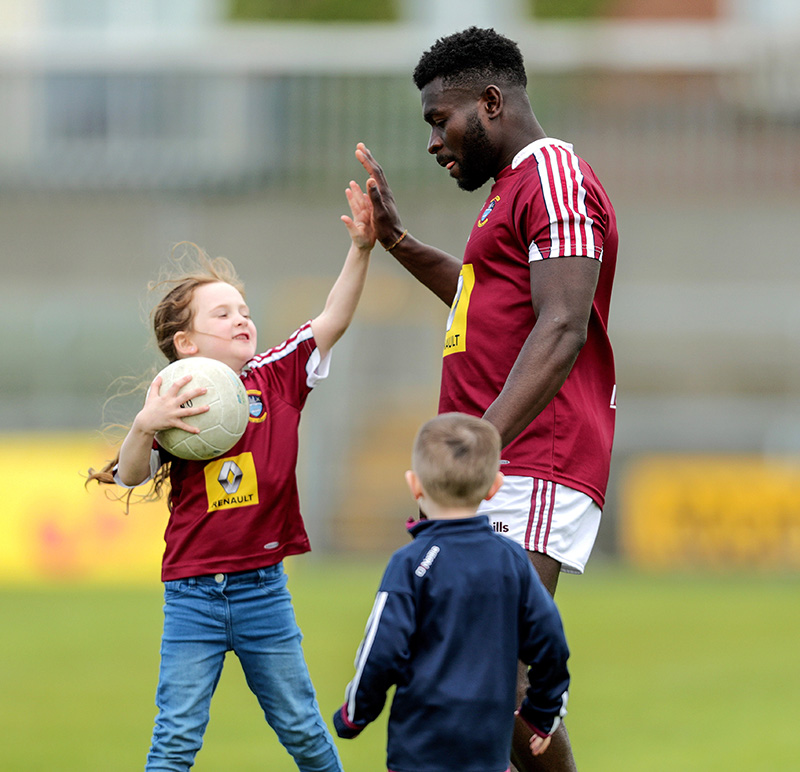 All-Ireland Senior Football Championship Qualifiers Round 1, TEG Cusack Park, Mullingar, Co. Westmeath 9/6/2019 Westmeath vs Waterford Westmeath's Boidu Sayeh with Lola McCarthy after the game Mandatory Credit ©INPHO/Laszlo Geczo