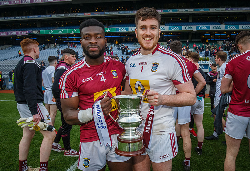 Allianz Football League Division 3 Final, Croke Park, Dublin 6/4/2019 Laois vs Westmeath Westmeath's Boidu Sayeh and Eoin Carberry celebrate with the cup after the game Mandatory Credit ©INPHO/Oisin Keniry
