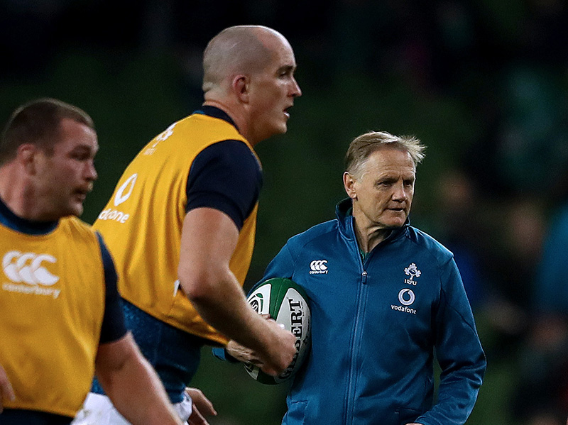 Guinness Series, Aviva Stadium, Dublin 10/11/2018 Ireland vs Argentina Ireland's head Coach Joe Schmidt and Devin Toner Mandatory Credit ©INPHO/James Crombie