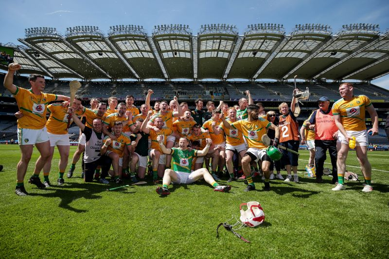 The Leitrim team celebrate following the Lory Meagher Cup Final 2019