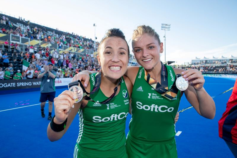 Ireland Anna O'Flanagan and Chloe Watkins celebrate with their silver medals Hockey Women's World Cup Final, London, 2018 ©INPHO/Morgan Treacy