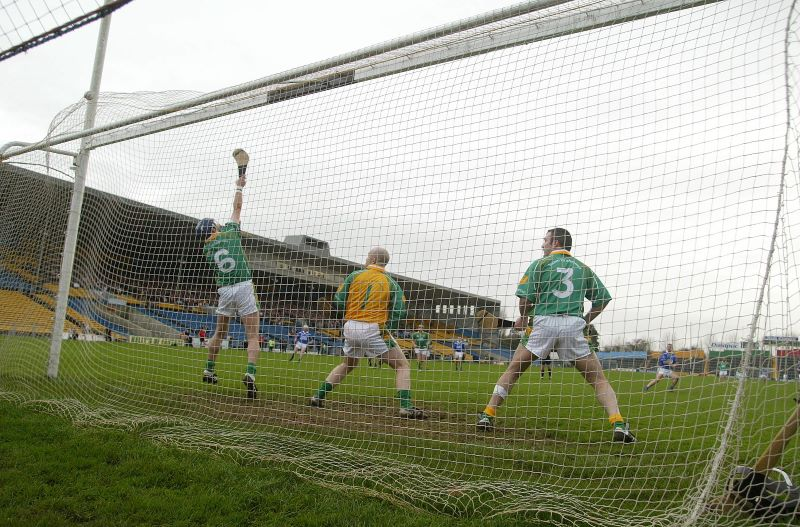 Ken McGrath's penalty hits the back of the Toomevara net ©INPHO/Lorraine O'Sullivan