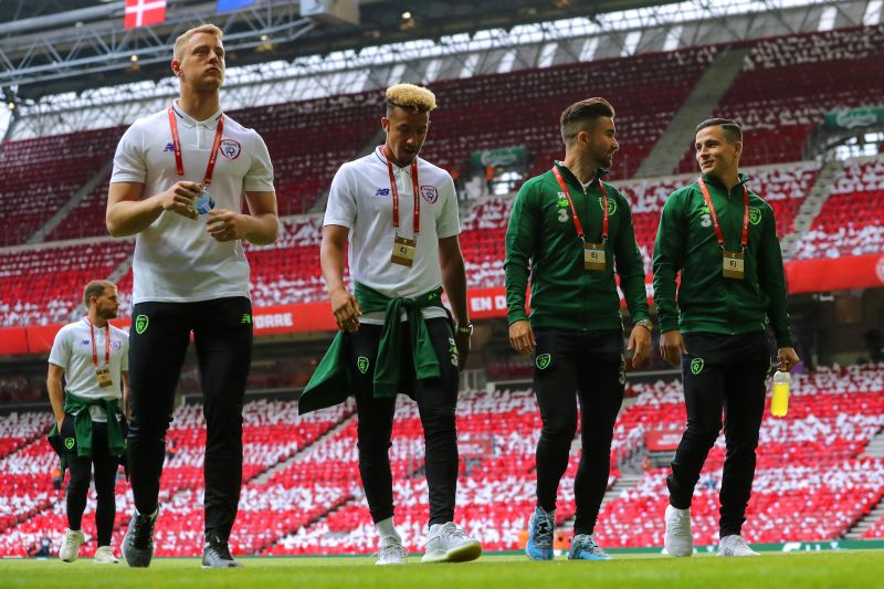 Ireland goalkeeper James Talbot, Callum Robinson and Sean Maguire before Denmark vs Republic of Ireland UEFA Euro 2020 Qualifier ©INPHO/Ryan Byrne