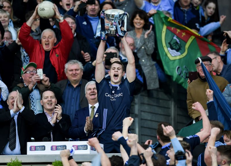 Westport's Brian McDermott lifts the cup after the AIB Intermediate Club Football Championship Final ©INPHO/Tommy Grealy