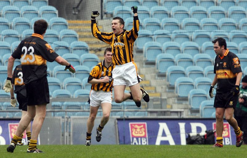 Oisin McConville celebrates scoring the equalising point earning a replay ©INPHO/Cathal Noonan