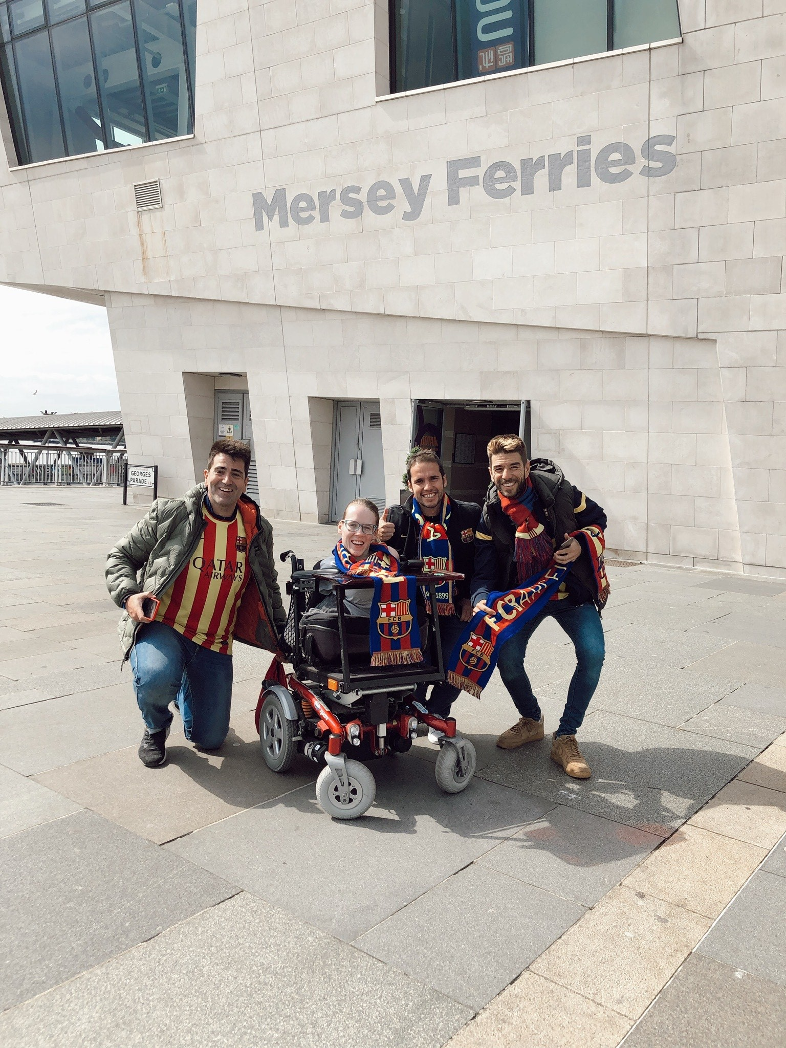 Joanne pictured with fellow Barcelona FC fans at her first Champions League game. © Joanne O'Riordan