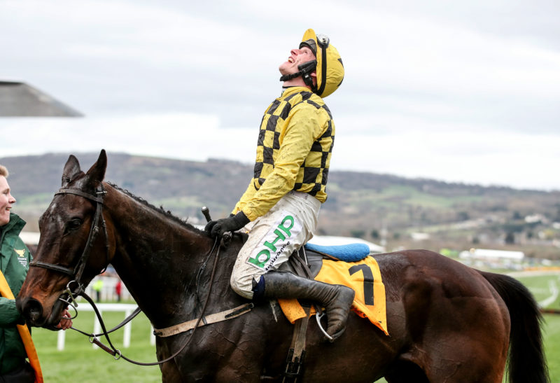 Paul Townend onboard Al Boum Photo celebrates winning the 2019 Magners Cheltenham Gold Cup Chase ©INPHO/Dan Sheridan