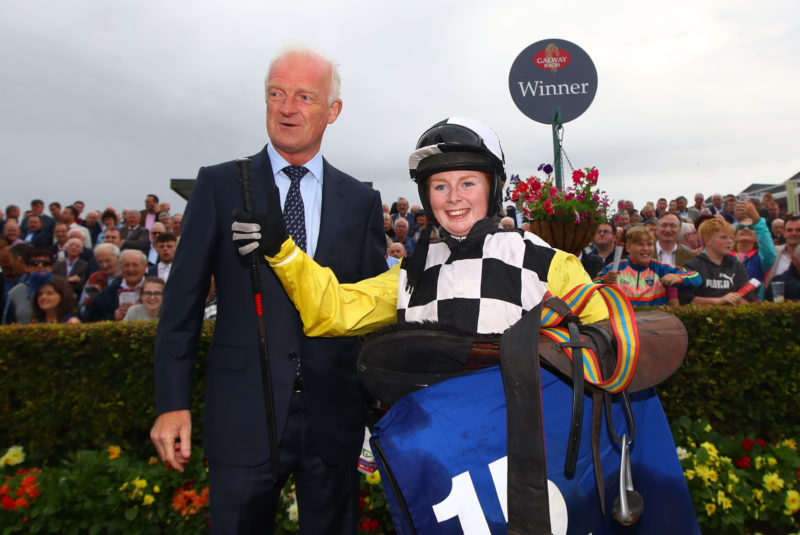 Jody Townend celebrates with trainer Willie Mullins after winning with Great White Shark in The Connacht Hotel Handicap, 2019 Galway Racing Festival 29/7/2018. ©INPHO/James Crombie
