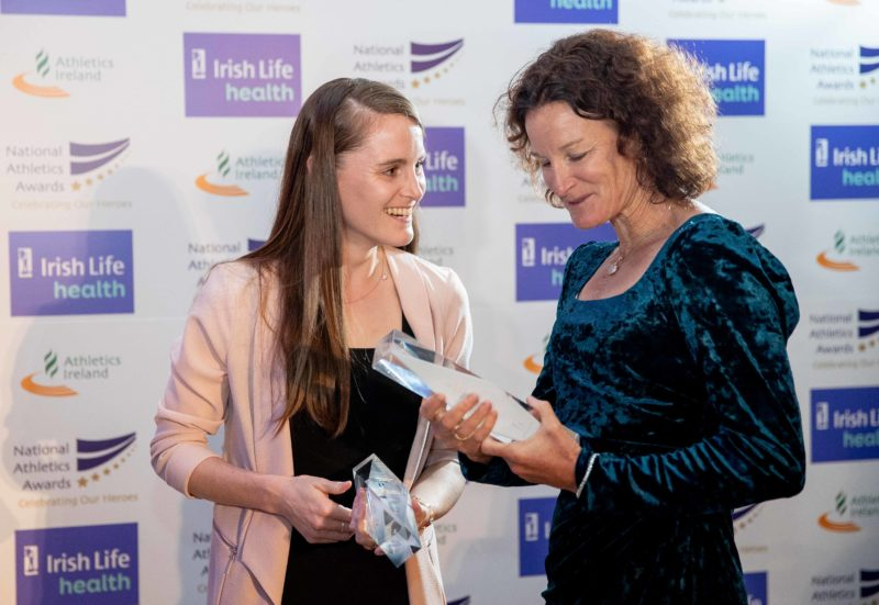 Ciara and Sonia O'Sullivan at the 2019 Irish Life Health Athletics Awards.
