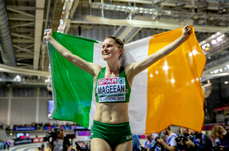 Ciara celebrates winning a bronze medal at the 2019 European Athletics Indoor Championships in Glasgow.