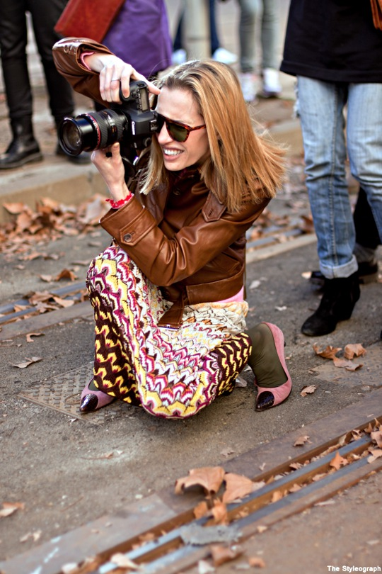 Milanese Fashion Week Street Style Photographer Dress Print