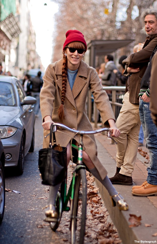 Milan Fashion Week Street Style Bicycle Bike Dolce & Gabbana