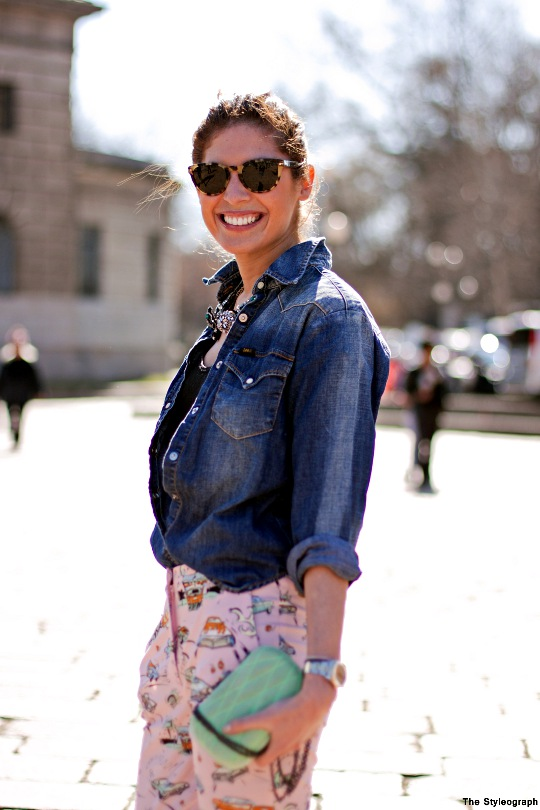 Milano Street Style Sofia Guellaty Fashion Editor Jeans Shirt