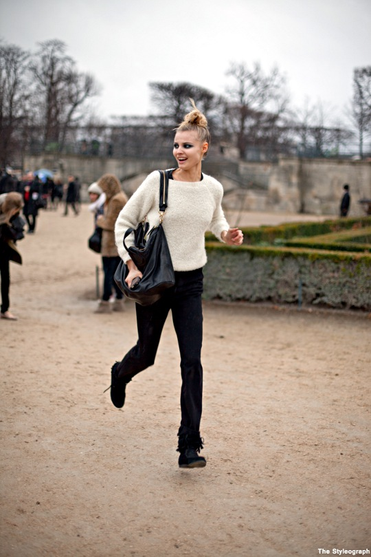 John Galliano Paris Fashion Week Street Style Model Magdalena Frackowiak