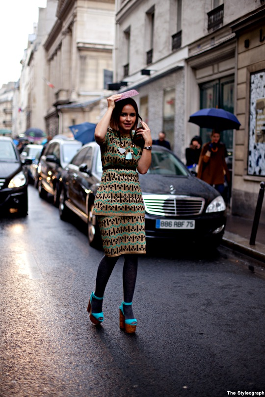 Paris Fashion Week Street Style Miroslava Duma Dress Accessories