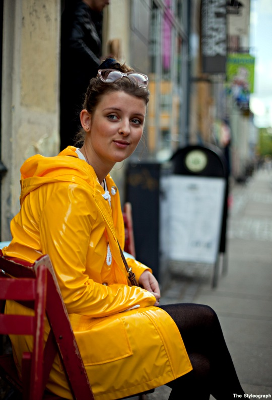 Distortion Festival Copenhagen Street Style Fashion Yellow Raincoat Women