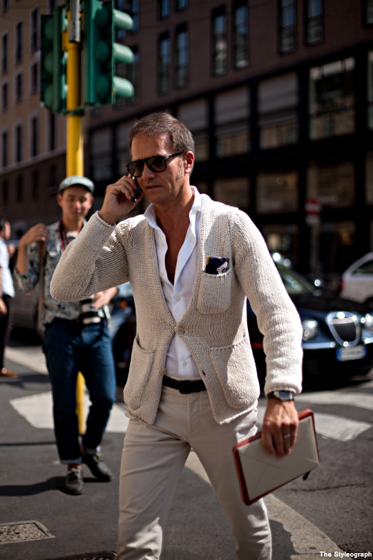 Men's Wear Fashion Week Milan Street Style White Cardigan